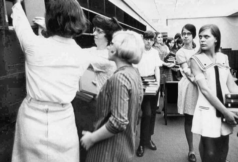 """Moving In-A """"Book Walk"""" conducted by 500 ninth graders from Roosevelt Junior High School on May 23, 1969"""
